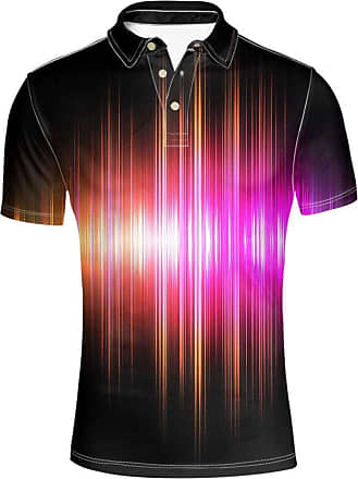 Hugs Idea Mens Polos Shirt Short Sleeve Bright Colors Line Design T-Shirt for Sport