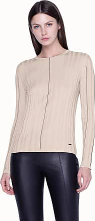 Akris Knit Pullover in Cashmere Silk Rib with Fine Line Detail in Contrast Color