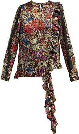By Walid Floral-print Ruffle-trim Silk Blouse - Womens - Black Print