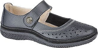 Boulevard Womens/Ladies Wide Fitting Touch Fastening Perforated Bar Shoes (6 UK) (Black)