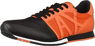 A|X Armani Exchange Mens Lace Up Sneaker with Logo, Flame red + Black, 11 M US