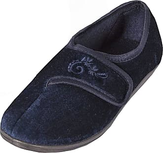 Forever Dreaming Womens Touch Fastened Plain Velour Shoes Wide Fit House Slippers Blue 3