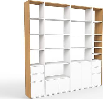 MYCS Regalsystem Weiß - Regalsystem: Schubladen in Weiß & Türen in Weiß - Hochwertige Materialien - 229 x 233 x 35 cm, konfigurierbar