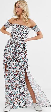 Glamorous Vestito lungo con scollo alla Bardot a fiori-Multicolore