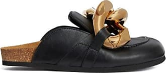 J.W.Anderson Chain-embellished Leather Mules - Womens - Black Gold
