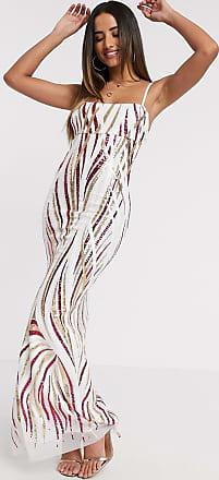 Goddiva Lange jurk met spaghettibandjes en lovertjes in wit/roze