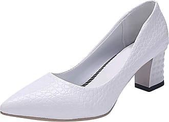 Daytwork Women Pumps Court Shoes - Ladies PU Leather Block Heel Stilettos Pointed Toe High Heels Office Work Wedding Dress Shoes Classic White