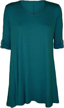 WearAll Womens Plus Size Scoop Neck Short Sleeve Flared Ladies Long Plain Top Sizes 14-28 (18-20, Teal)