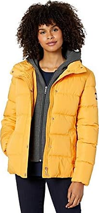 Tommy Hilfiger Womens Combination Diamond Quilt Coat with Hood