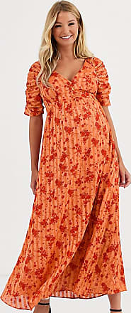 Asos Maternity ASOS DESIGN Maternity button through maxi tea dress with ruched sleeves in floral print-Multi