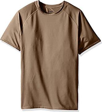 07981db66 Soffe Mens Tight Fit Short Sleeve Jersey T-Shirt, Tan, Large