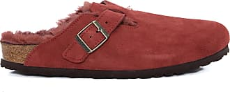 Birkenstock Mule Boston Vl Antique Port Lammfell - Vermelho