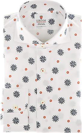 Cordone 1956 Camicia sartoriale Mod. Seersucker Flower Printed Red - Tessuto cotone - seersucker - Colore bianca - Taglia 36