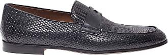 Doucal's Intrecciato Nappa Loafers, 43.5 Dark Blue