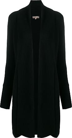 N.Peal vertical placket cardi-coat - Black