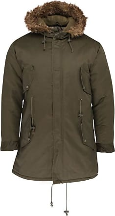 Relco Mens Fishtail Parka Jacket with Faux Fur Hood Olive Green XL