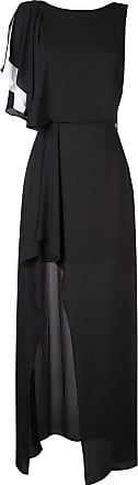 Halston Heritage Vestido de festa assimétrico com babados - Preto