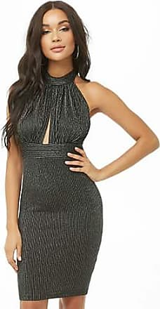 Forever 21 Forever 21 Metallic Striped Cutout Halter Dress Silver