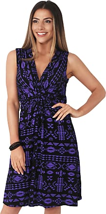 Krisp Aztec Print Sexy V-Neck Dress Jersey Casual Dresses Day Summer Party Cocktail Knot Front (Purple [6607], 18), 6607-PURBLK-18