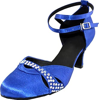 Find Nice Womens Ankle Strap Latin Modern Tango Cha-cha Custom 2/2.4/2.8/3.15 Heel Closed-Toe Satin Professional Dance-Shoes Blue 1.5 UK