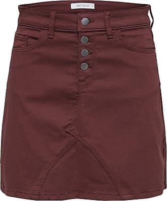 Jacqueline de Yong Ladies High Waisted Button Front Mini Skirt Paprika Orange M