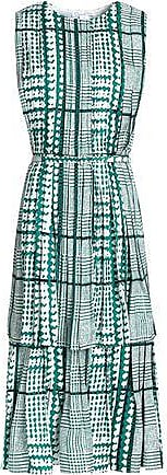 Oscar De La Renta Oscar De La Renta Woman Layered Pleated Printed Silk Midi Dress Emerald Size 4