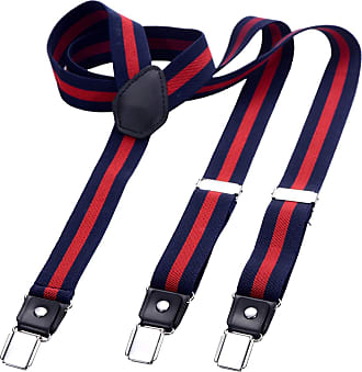 DonDon Mens Fashion Braces Suspenders 2,5 cm 1,0 Wide with 3 Clips in Y-Form Elasticated and Adjustable Length in Blue Red
