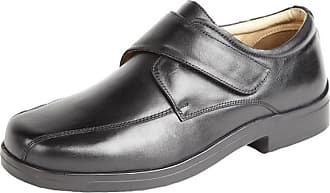 Roamers Mens Soft Leather XXX Extra Very Wide Fit Lightweight Strap Shoes Black Size 11