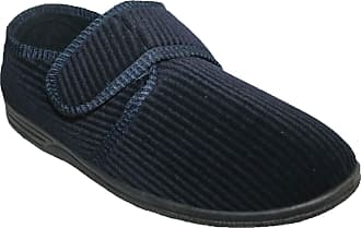 Northwest Territory Diabetic Orthopedic Mens Easy Close Wide-Fitting Touch Close Bar-Strap Shoe Slipper (Navy Plain, Numeric_12)