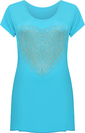 WearAll Womens Plus Size Heart Stud Hanky Hem Ladies Short Sleeve Long Top - Turquoise - 26-28