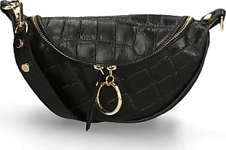 Chicca Borse Pouch Bag in genuine leather made in Italy - 17x25x8 Cm