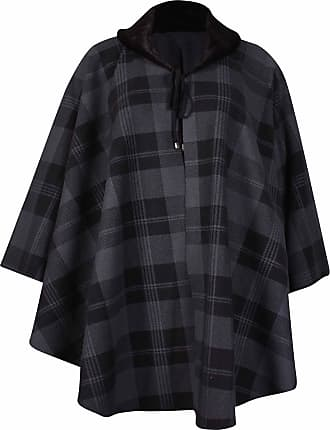 Purple Hanger Womens Plus Size Check Print Ladies Faux Fur Fleece Collared Tie Poncho Cape Coat Dark Grey One Size