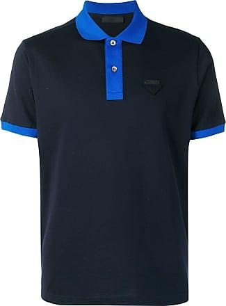 Prada Camisa polo com patch de logo - Azul