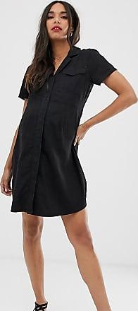 Asos Maternity ASOS DESIGN Maternity denim pocket detail mini shirt dress-Black