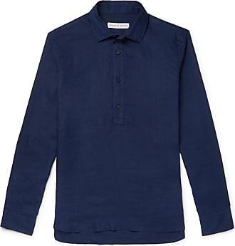 Orlebar Brown Ridley Linen Half-placket Shirt - Navy