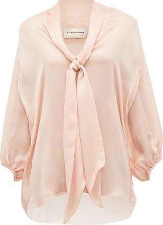 Alexandre Vauthier Tie-neck Silk-satin Chiffon Blouse - Womens - Light Pink
