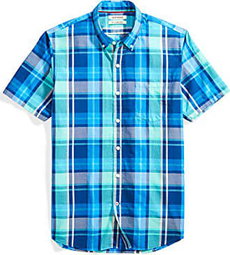 Goodthreads Mens Slim-Fit Short-Sleeve Large-Scale Plaid Shirt, Blue/aqua, Large