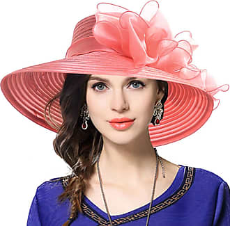 Laisla Fashion Women Dressy Church Baptism Wedding Derby Classic Hats Sun Spring Summer Bowknot Decorated Hat Beautiful Summer Hat (Color : Wassermelone, One Size :