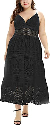 FeelinGirl Womens V Neck Lace Dresses Lace Pure Color Patchwork Party Evening Cocktail Black 3XL