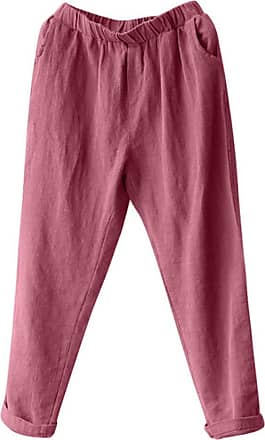 Kobay Women Trousers, Plus Size Linen Harem Pants Baggy Loose Trousers Casual Lady Wine Red