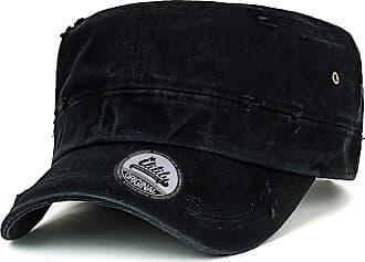 Ililily Solid Color Distressed Cotton Cadet Cap Vintage Military Army Style Hat, Black, Medium