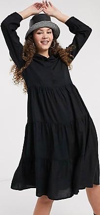 Monki Pearl - Vestito camicia a trapezio con maniche lunghe nero