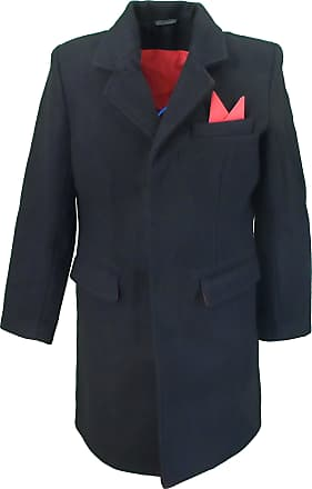 Relco Mens Overcoat Black with Red Lining (X Large)