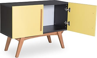 Odin Buffet Monclar com 2 Portas 90 cm Preto e AmareloPreto e Amarelo