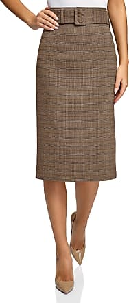 oodji Collection Womens Wide Belt Straight-Fit Skirt, Beige, UK 16 / EU 46 / XXL