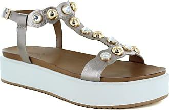 Inuovo Defne Platform Sandal, Pewter, 6 (39)