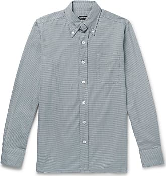 Tom Ford Slim-fit Button-down Collar Puppytooth Cotton Shirt - Gray