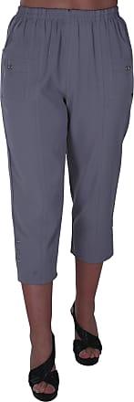 Eyecatch Verde Ladies Capri Crop Pants Flexi Stretch Plus Sizes Womens 3/4 Trousers Grey Size 18