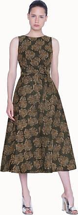 Akris Belted Desert Flower Jacquard Midi Dress