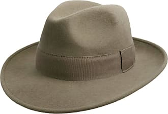 Classic Italy Classic Traveller II Wool Felt Fedora Hat Packable Water Repellent Size 62 cm Olive